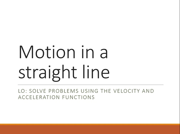 Velocity and acceleration functions