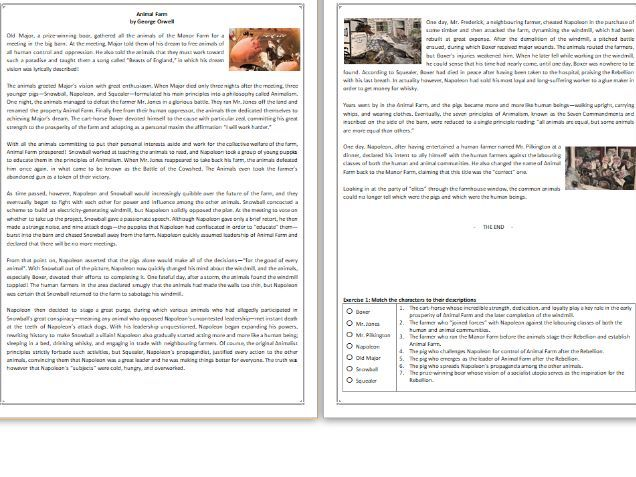 Animal Farm  - by George Orwell - GCSE Reading Comprehension