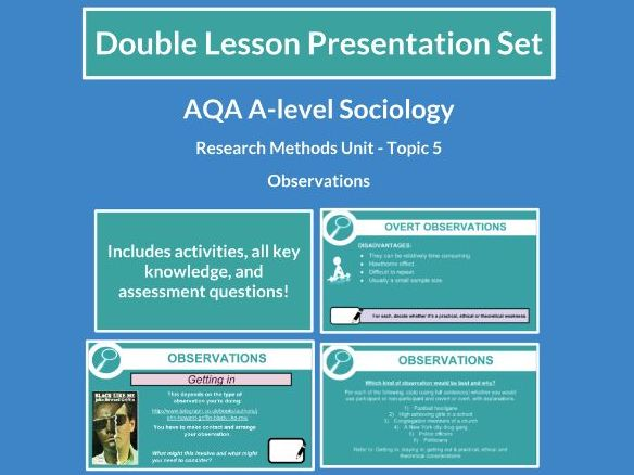 Observations - AQA A-level Sociology - Research Methods - Topic 5