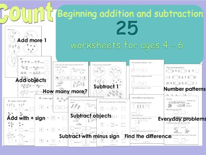 Beginning addition and Subtraction Reception Workbook Home learning