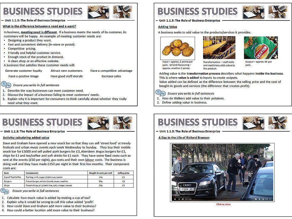 GCSE Business Studies (9-1) Edexcel Unit Enterprise 1.1.3 Role of Business Enterprise