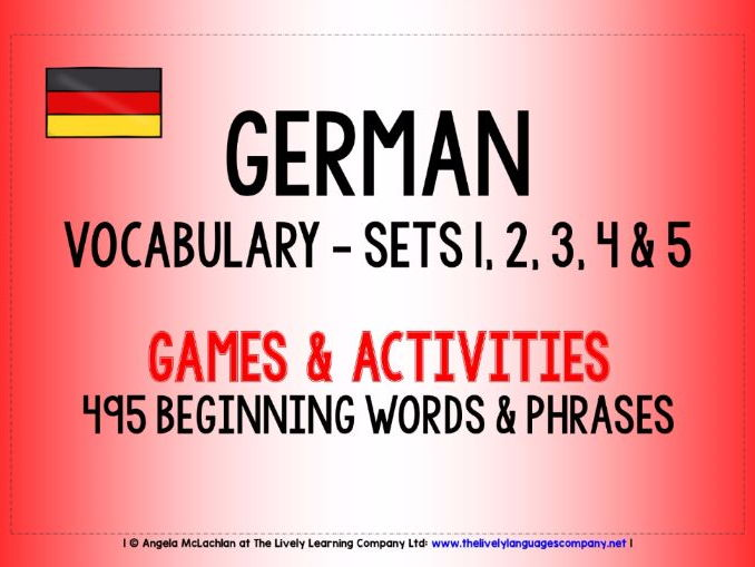 GERMAN VOCABULARY SETS 1- 5 - GAMES & ACTIVITIES