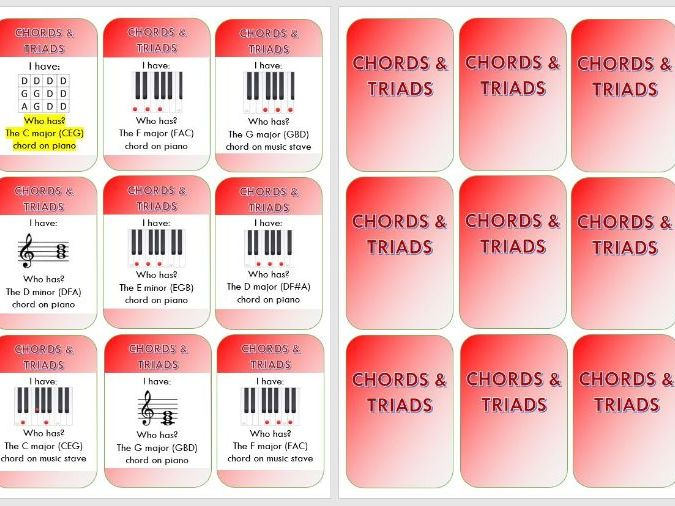 "Chords_Triads ""I have - who has"" editable card game"