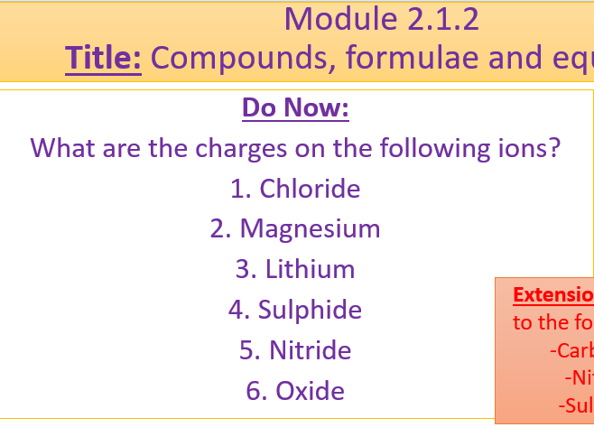 A Level Chemistry OCR A- Module 2.1.2- Formulas and Equations