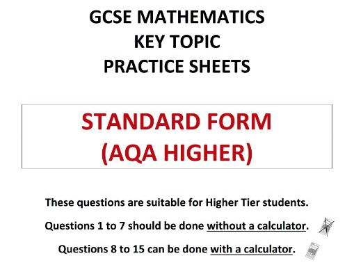 Gcse 9 1 Maths Exam Style Questions On Standard Form Aqa Higher By