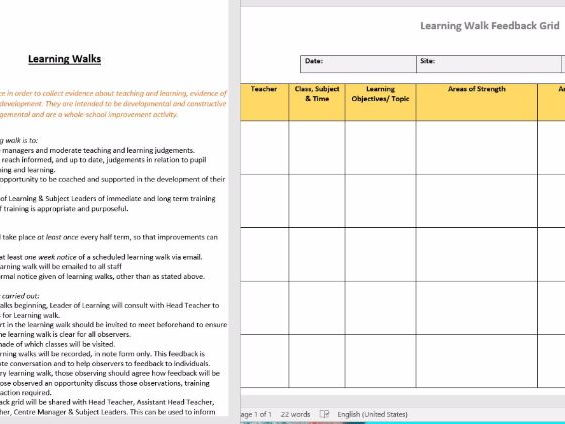 WHOLE SCHOOL - Learning Walk Policy & Feedback Grid Template - Teaching & Learning