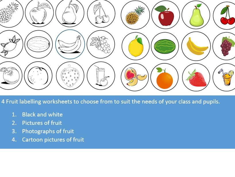 Label the Fruits Worksheets
