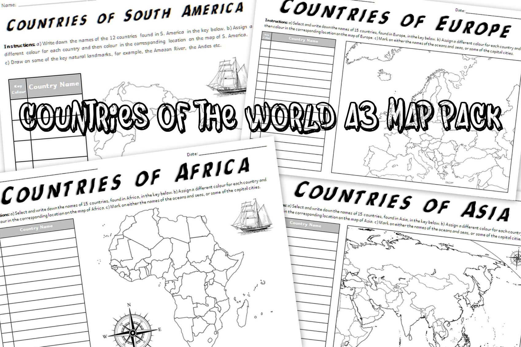 Countries of the World A3 Map Worksheets Pack