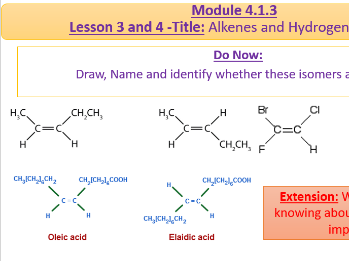 A Level Chemistry OCR A Module 4.1.3- Lesson 3 and 4 Reactions of Alkenes and Hydrogen Halides