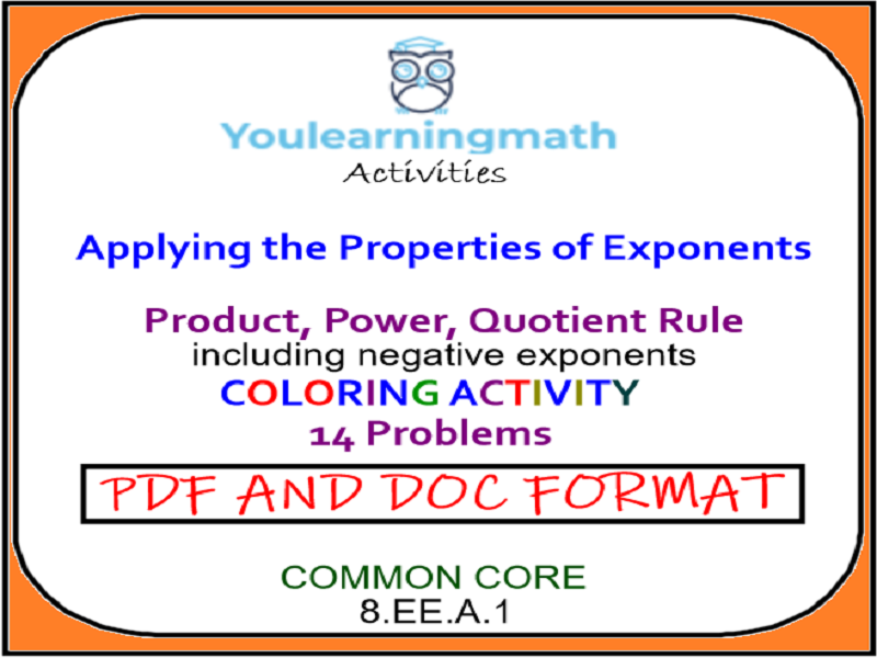 COLORING ACTIVITY: Applying the Properties of Exponents (14 problems)