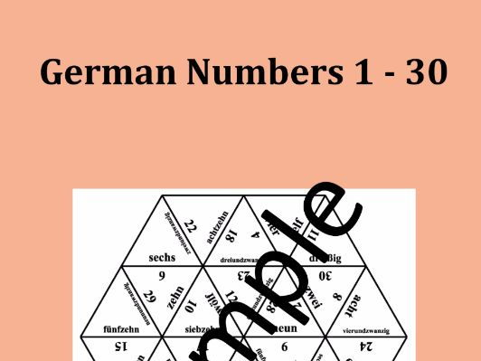 German Numbers 1 - 30 – Puzzle