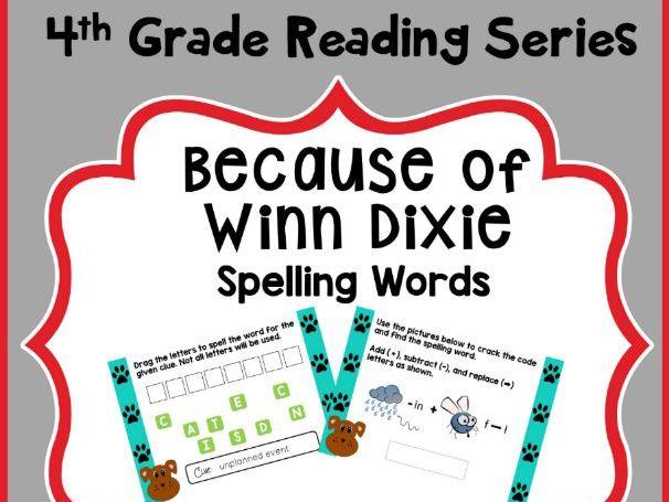 4th Grade Reading Street Spelling - Because of Winn Dixie - Digital Boom Cards
