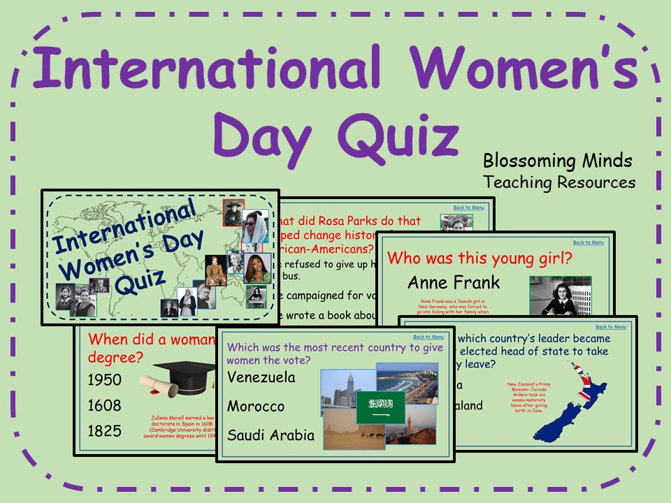 graphic regarding 1950 Trivia Questions and Answers Printable known as World wide Womens Working day Quiz - 60 concerns - Background