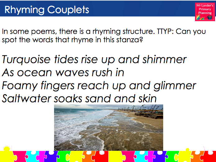 Writing Rhyming Couplets - Y3/4 Water Poetry