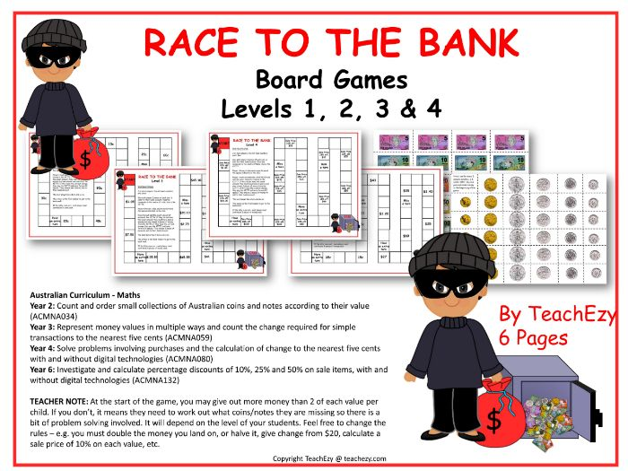 Race to the Bank Money Board Game