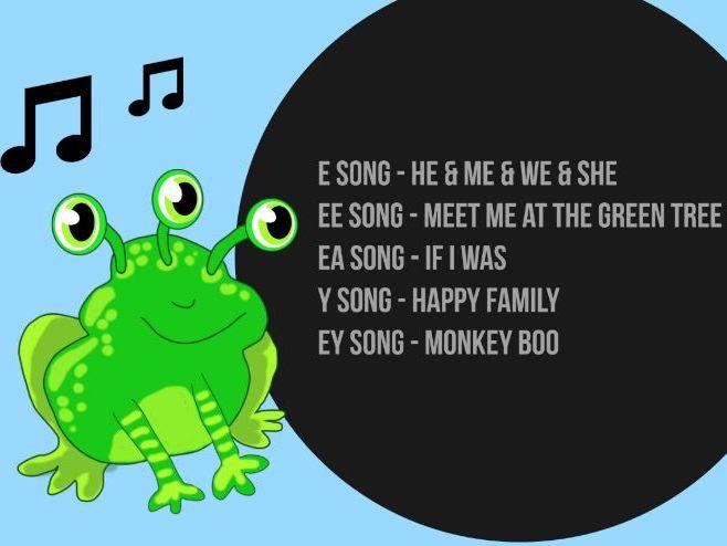 Monster Phonics Long Vowel E Songs e, ee, ea, y,  ey