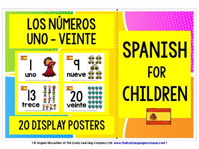 BACK TO SCHOOL PRIMARY SPANISH - NUMBERS 1-20 POSTERS / FLASHCARDS