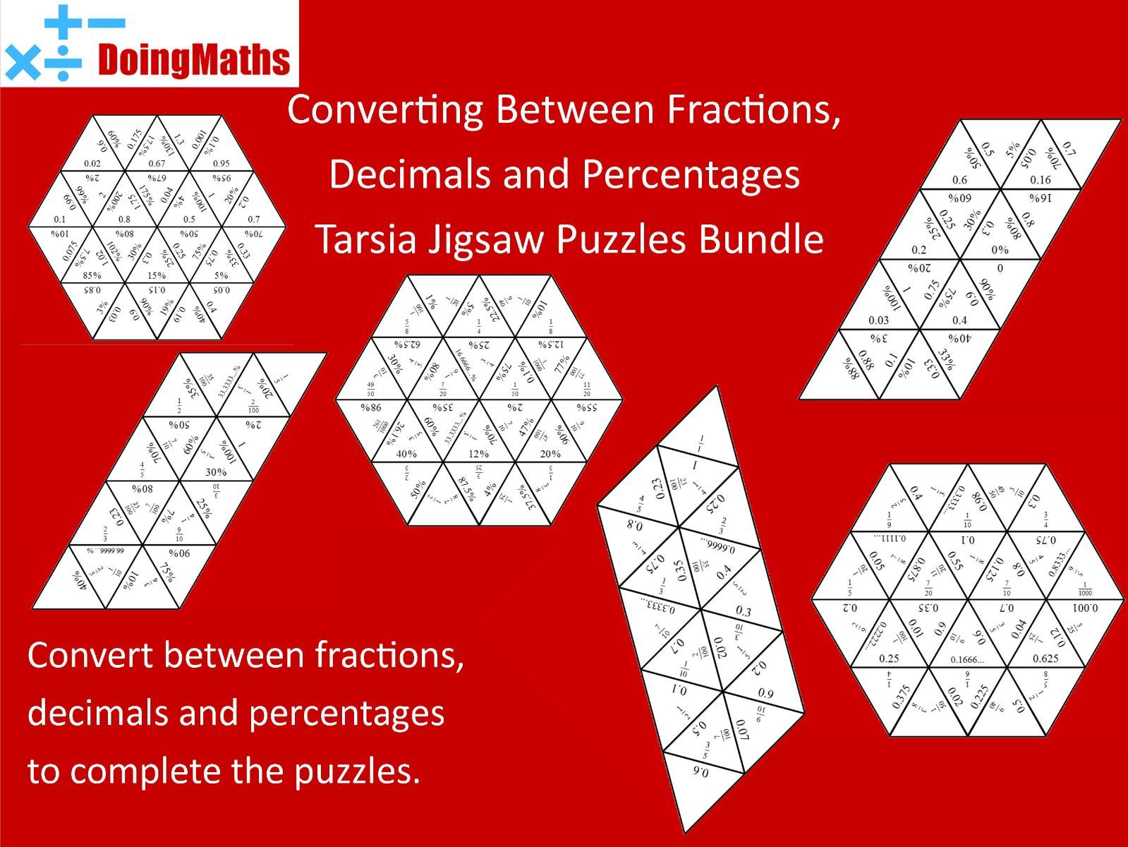 Converting between fractions, decimals and percentages - Differentiated jigsaw pack