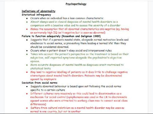 AQA A-level Psychology: Psychopathology notes