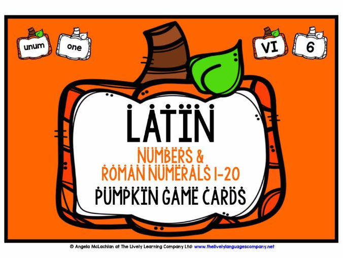 LATIN NUMBERS 1-20 WITH ROMAN NUMERALS AUTUMN GAMES CARDS & REFERENCE SHEET