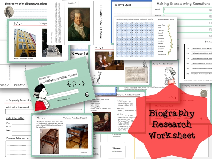 Biography Research Report / Wolfgang Amadeus Mozart Biography worksheet