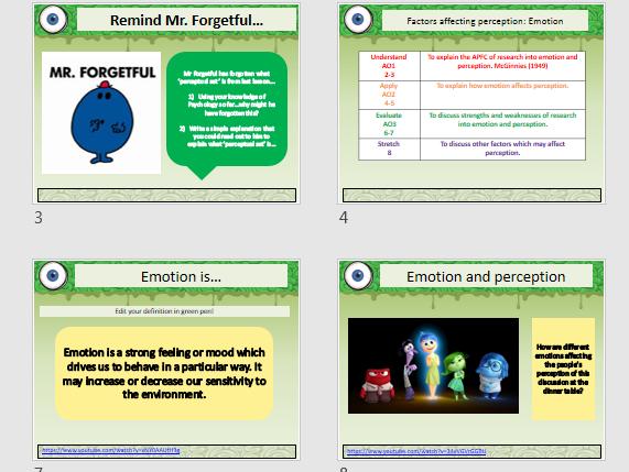 Perception and Emotion (AQA GCSE Psychology 9-1)