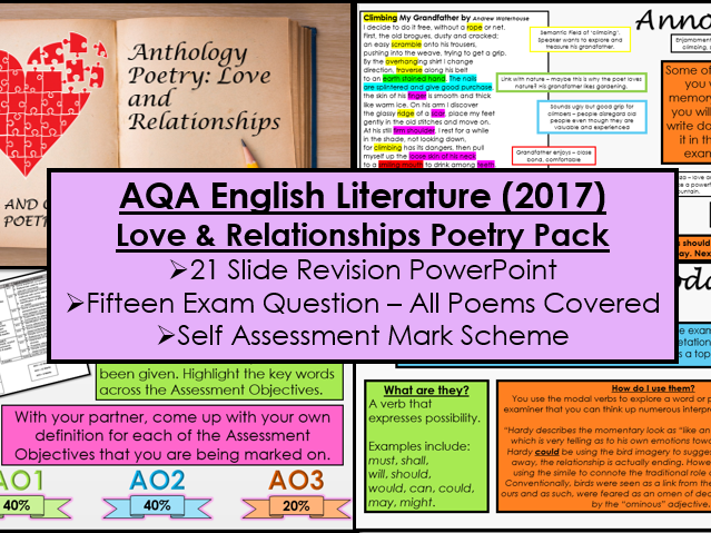 English Literature Paper Two - Section B: Love and Relationships Poetry Cluster (AQA, New Spec)