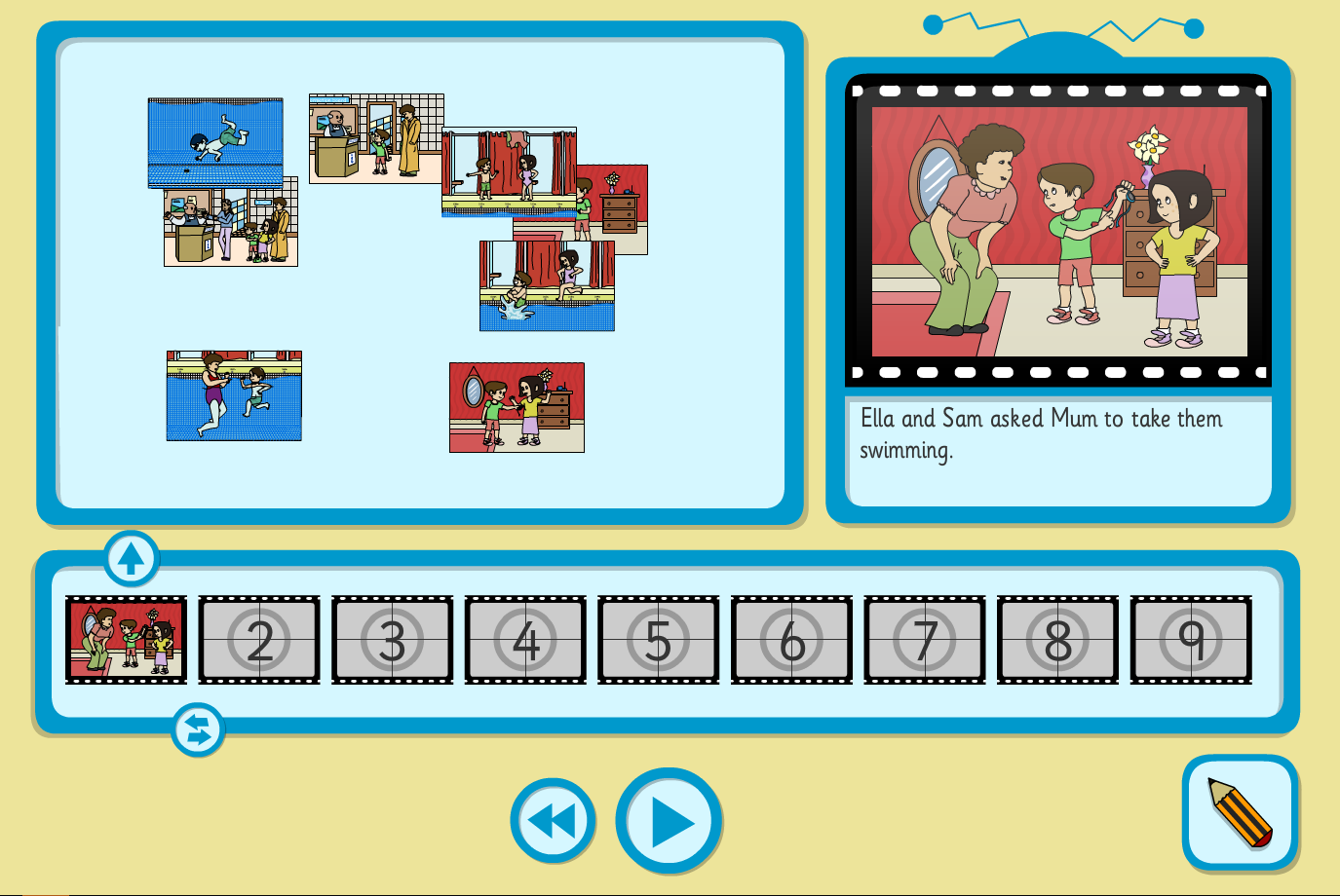Sam Goes Swimming Sequence and Retell Interactive Activity - KS1 Literacy