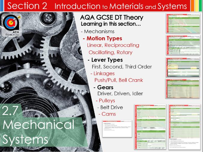 AQA GCSE DT 2.7 Mechanical Systems