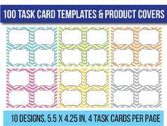 100 Editable Task Card Templates Clip Art Flash Card Templates
