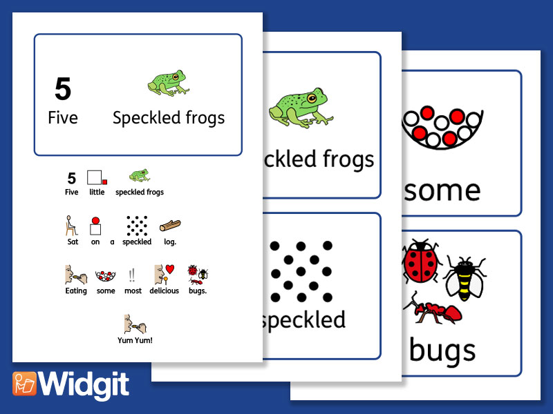 Five Speckled Frogs - Nursery Rhyme Board with Widgit Symbols