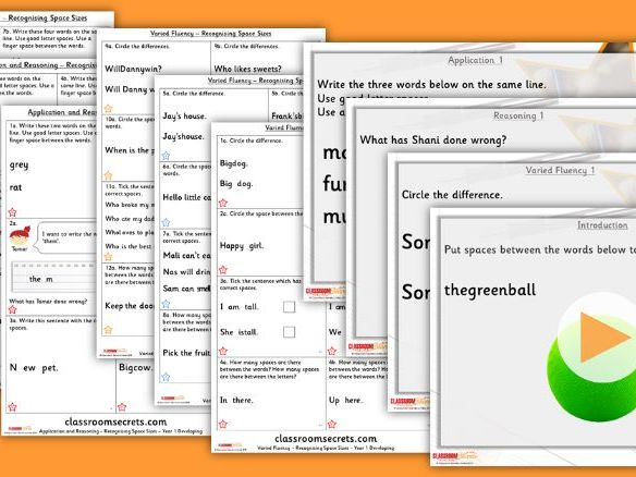 Grammar Year 1 Recognising Space Sizes Autumn Block 1 Step 3 Lesson Pack