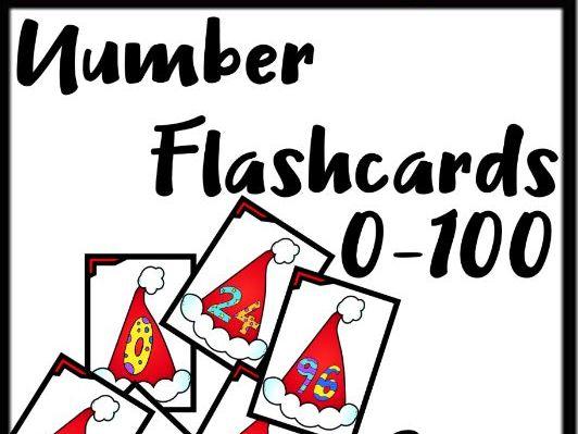 Number Flashcards 0-100 (Christmas Holidays, Santa Hat)