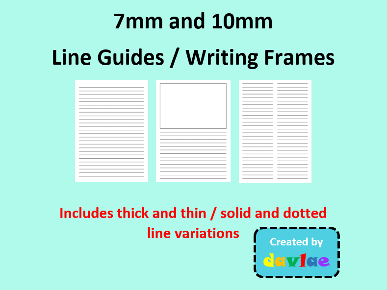 7mm and 10mm Line Guides / Writing Frames