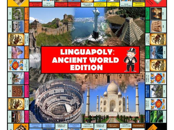 Monopoly boardgame (Ancient/Modern World Edition) + Questions Cards