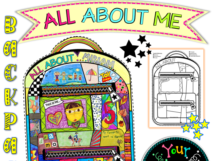 All About Me BACKPACK ART - Writing activity