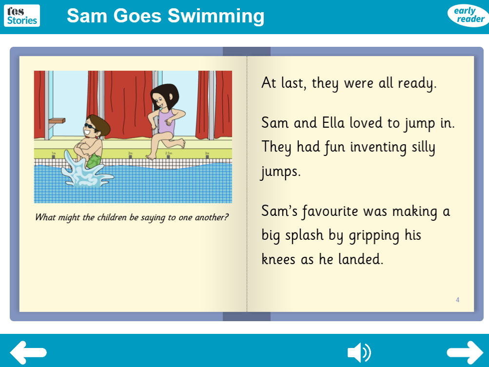 Sam Goes Swimming Interactive Storybook - Early Reader Level - PSHE KS1