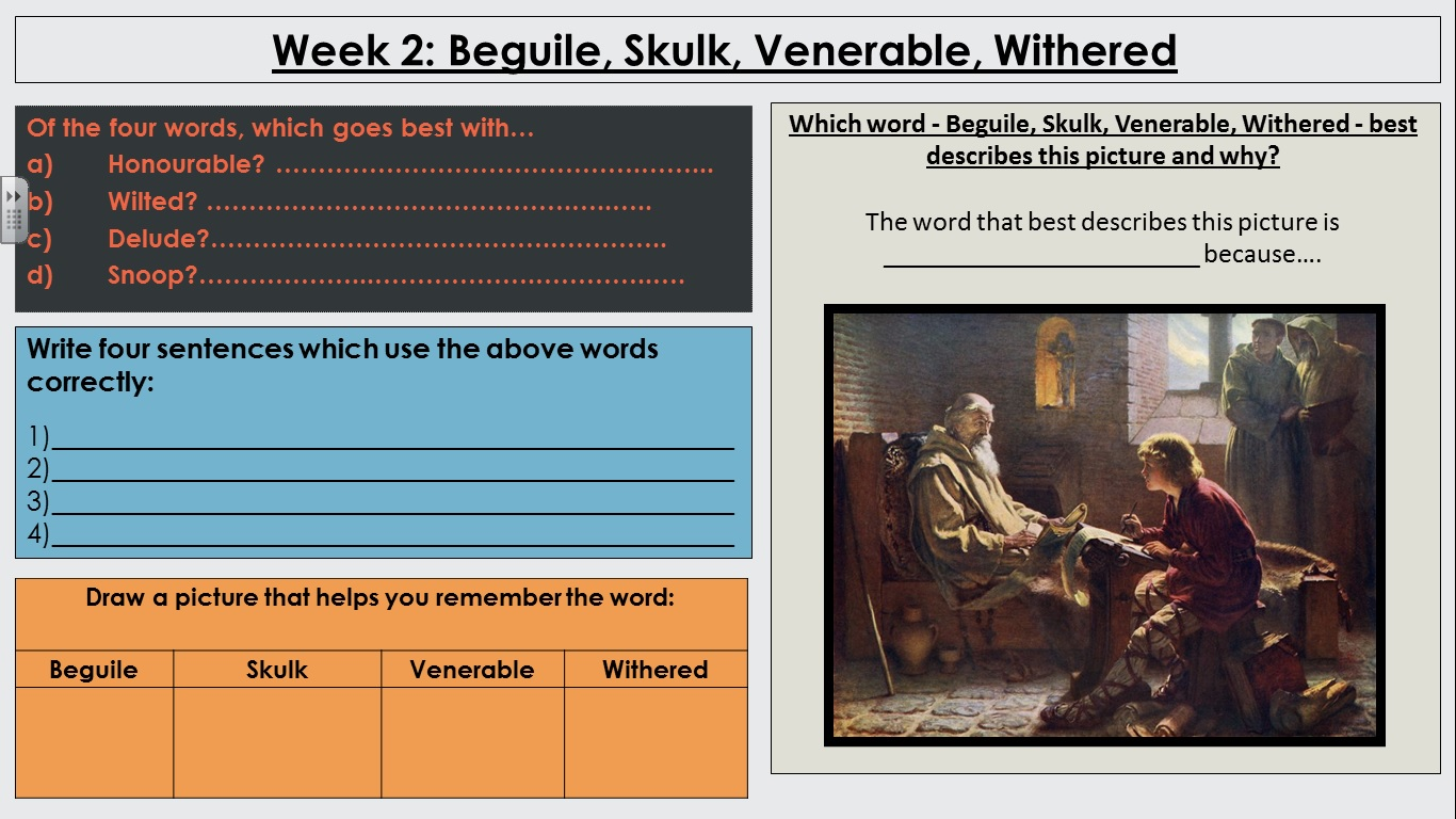 Vocabulary Do-Nows for Y7, 8 and 9