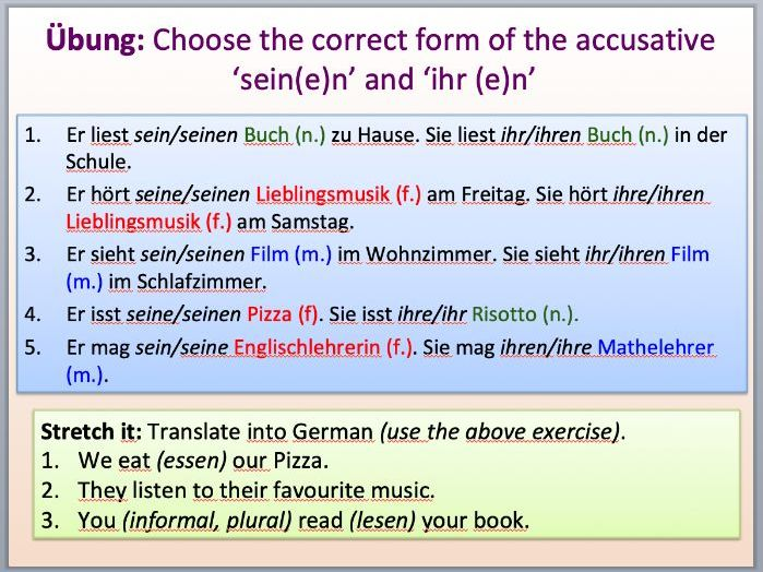 PPT German: Possessive pronouns/possessive adjectives with the nominative and accusative case.