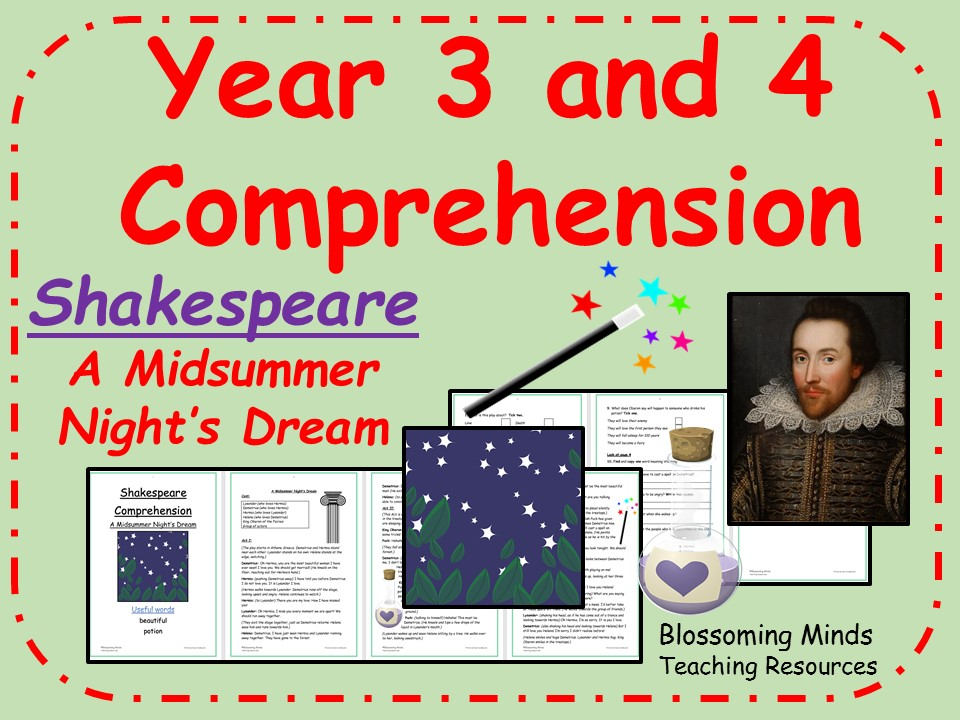A Midsummer Night's Dream - Lower Key Stage 2 Reading Comprehension (Shakespeare Week)