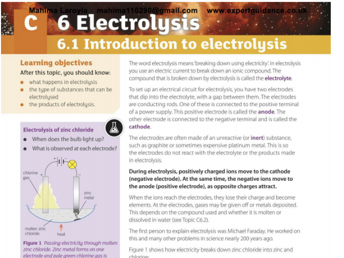 (9-1) AQA GCSE Chemistry C6 Electrolysis Complete Revision Kit -Notes, Questions, Past Papers