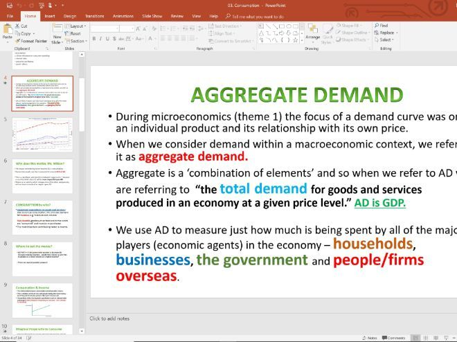 03. AD Consumption (Slides, Activities and Notes) - Edexcel A-Level Economics - Theme 2