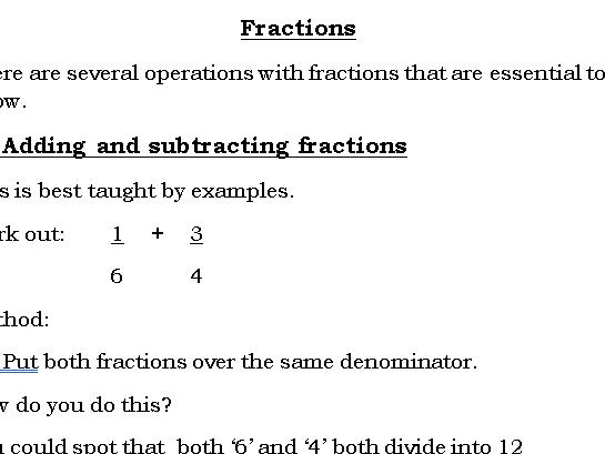 Fractions GCSE (9-1)