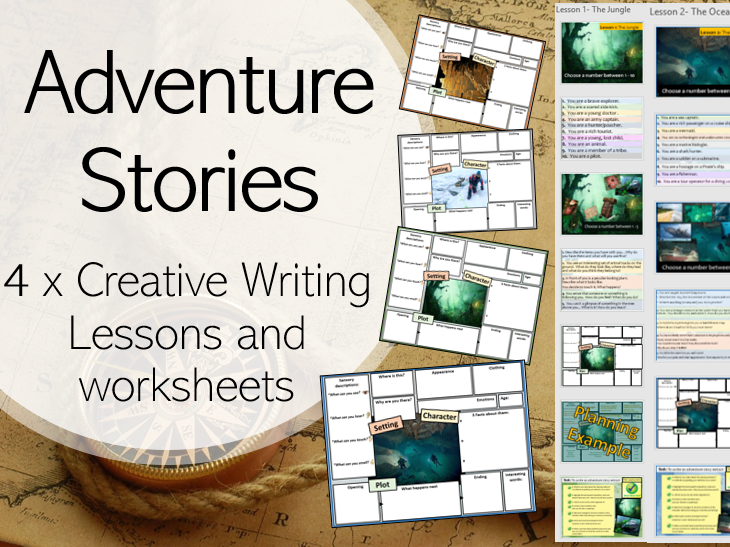 Adventure Stories (KS2, KS3) Creative Writing Lessons x4 and Worksheets