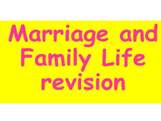 Edexcel Christianity Marriage and Family Life Unit 3 Revision