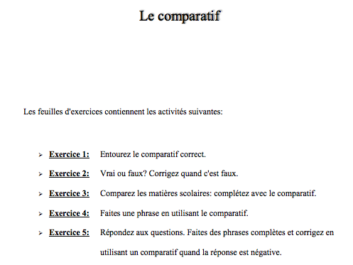 Le comparatif (comparative)
