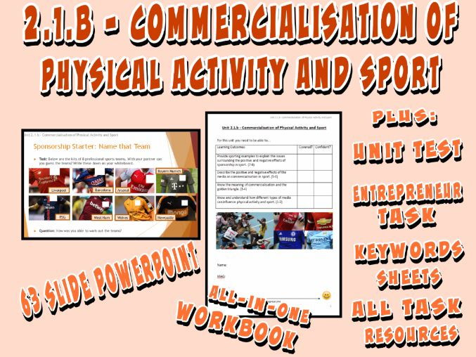 OCR GCSE PE 9-1 (2016) 2.1.b - Commercialisation of Physical Activity and Sport - Unit of Work