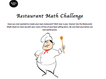 Restaurant Math Challenge - Real World Math Activity