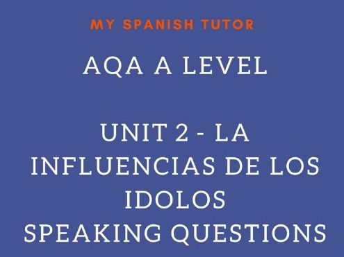 AQA AS LEVEL SPANISH UNIT 4 - LA INFLUENCIA DE LOS ÍDOLOS SPEAKING QUESTIONS