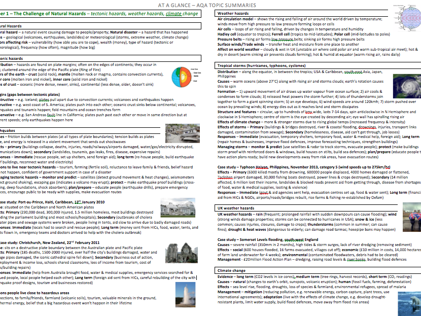 AT A GLANCE: AQA Knowledge Organiser - The Challenge of Natural Hazards